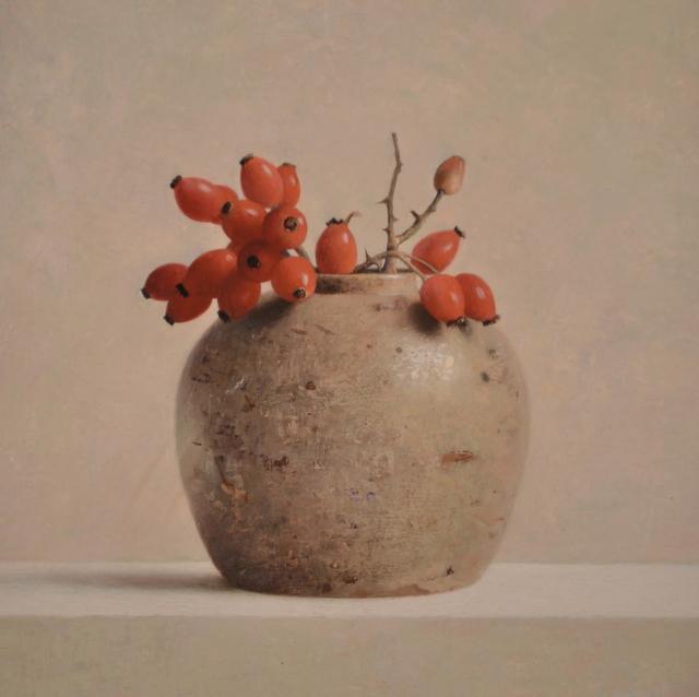 Gemberpot met rozenbottels – Henk Helmantel – Art center Hoorn