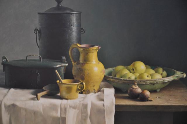 Stilleven met gele kan en appels – Henk Helmantel – Art center Hoorn