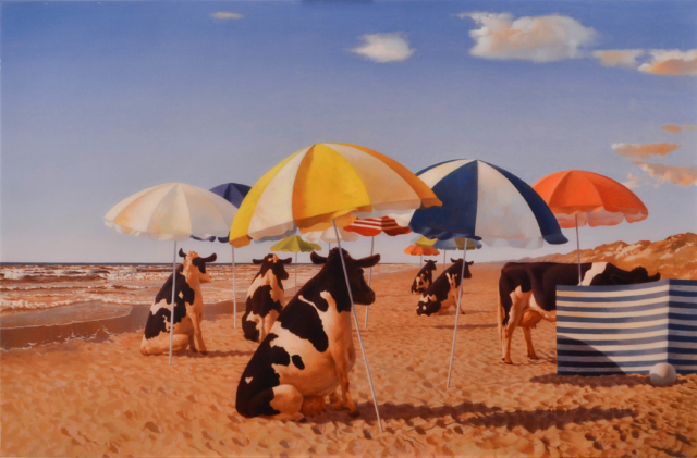 Koeien op het strand – Bas Sebus – Art center Hoorn